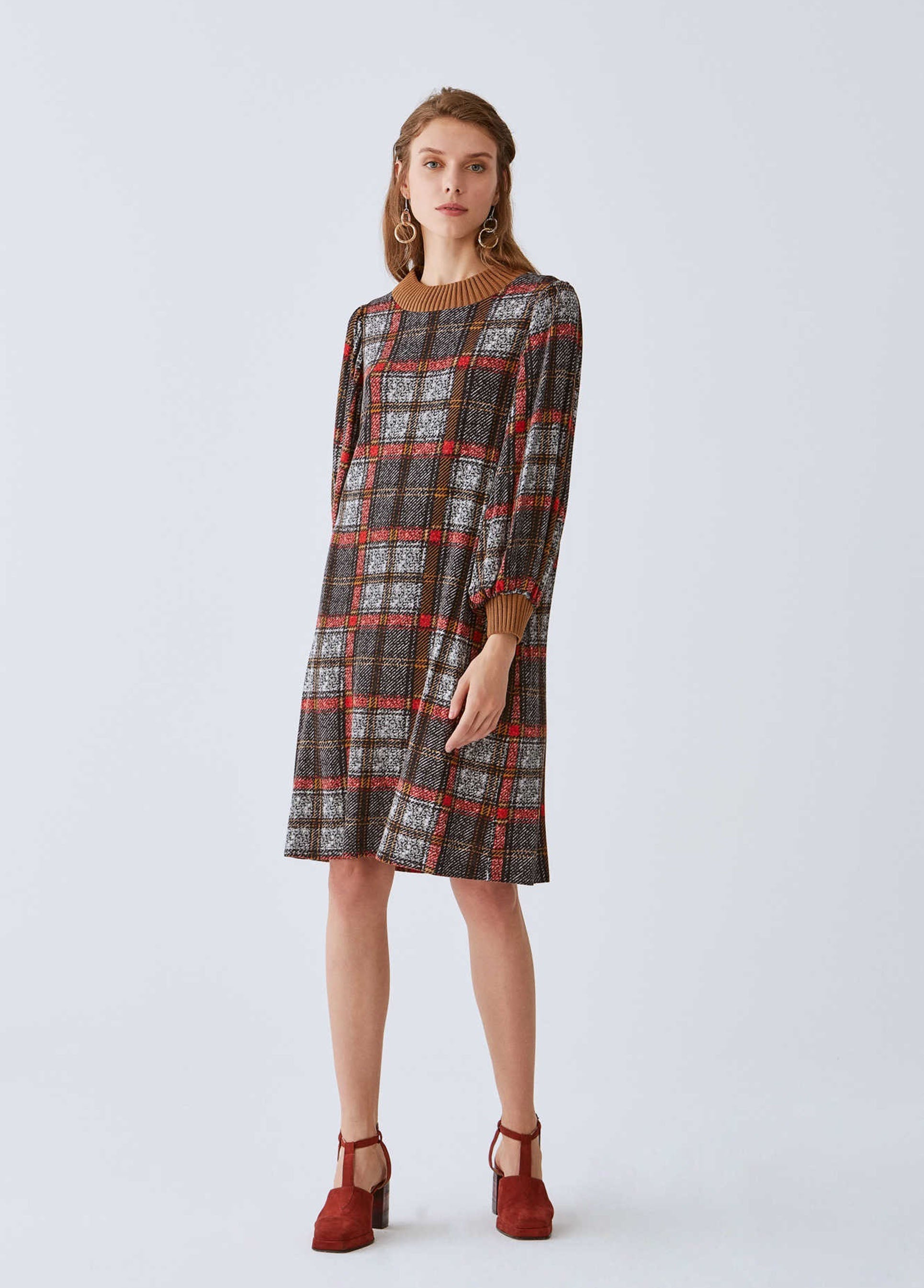 ROMAN USA-Plaid Mockneck Shift Dress-- [ORIGINAL]