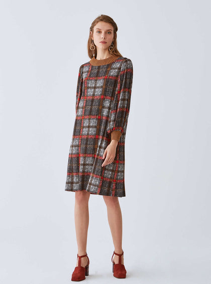 Plaid Mockneck Shift Dress