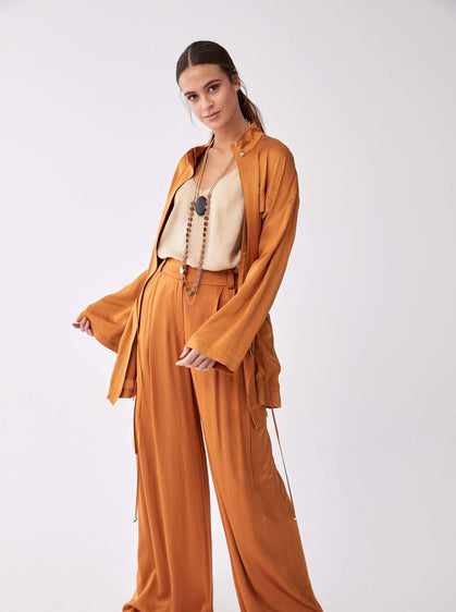ROMAN USA-Wide Leg Cargo Pocket Pant-- [MUSTARD]