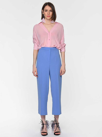ROMAN USA-High Waisted Cropped Dress Pant-- [BLUE]