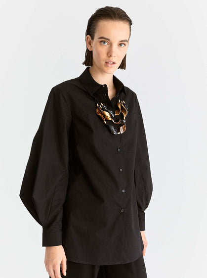 Structured Balloon Sleeve Button Down Shirt