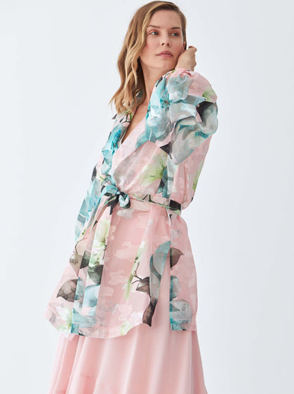 Sheer Bloom Print Coat
