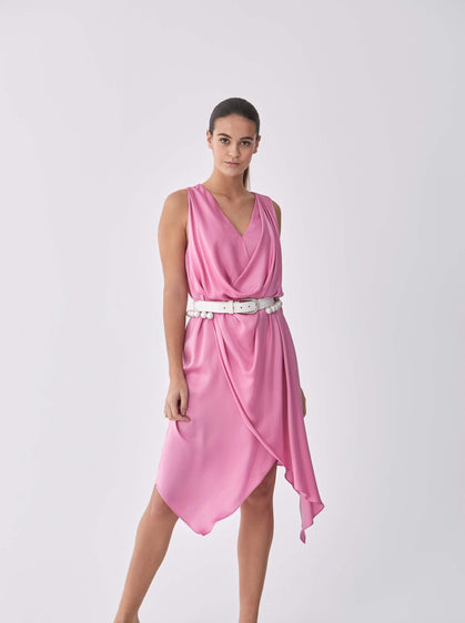 ROMAN USA-Greco-Draped Midi Dress-- [PINK]
