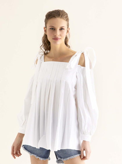 Cold-Shoulder Cotton Summer Top