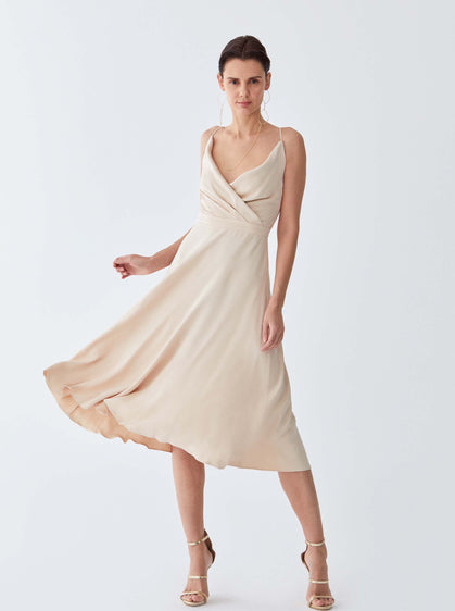 ROMAN USA-Marilyn Wrap Dress-- [LIGHT - BEIGE]