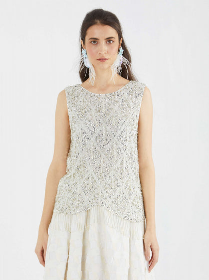 ROMAN USA-EMBELLISHED SLEEVELESS TOP-- [WHITE]