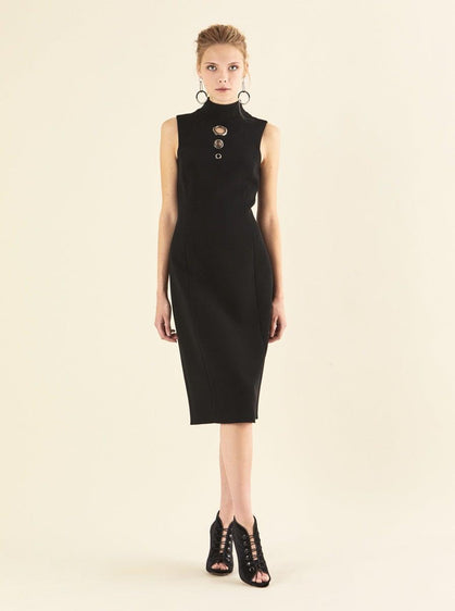ROMAN USA-O-Ring Sleeveless Mockneck Dress-- [BLACK]