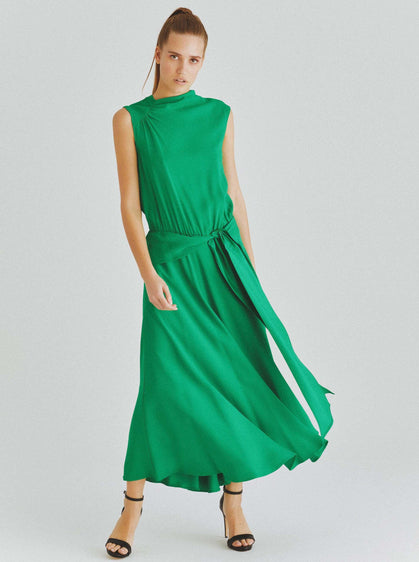 Sleeveless Ripple Midi Dress