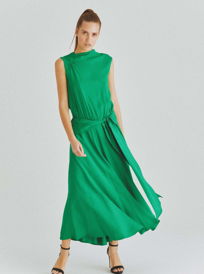 ROMAN USA-Sleeveless Ripple Midi Dress-- [GREEN]