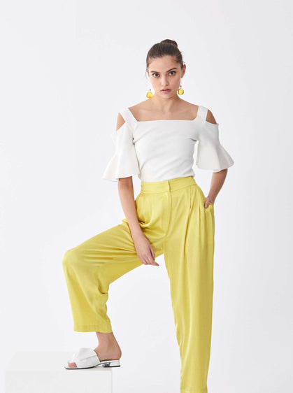 ROMAN USA-Yellow Pleat Cocoon Pant-- [YELLOW]