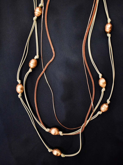 ROMAN USA-Multicolor String Necklace with Gold Beads-- [ORIGINAL]