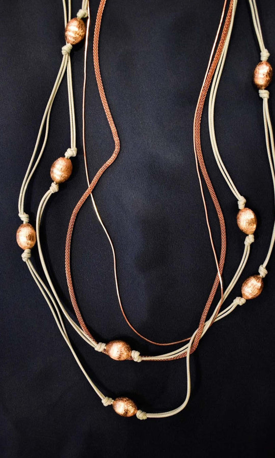 Multicolor String Necklace with Gold Beads