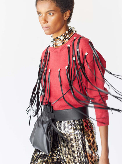 Leather Tassle Embellished Sweater