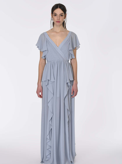 ROMAN USA-Sky BLUE Greco Panel Gown-- [BLUE]