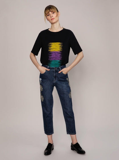 ROMAN USA-Embellished Cropped Jean-- [DARK - BLUE]