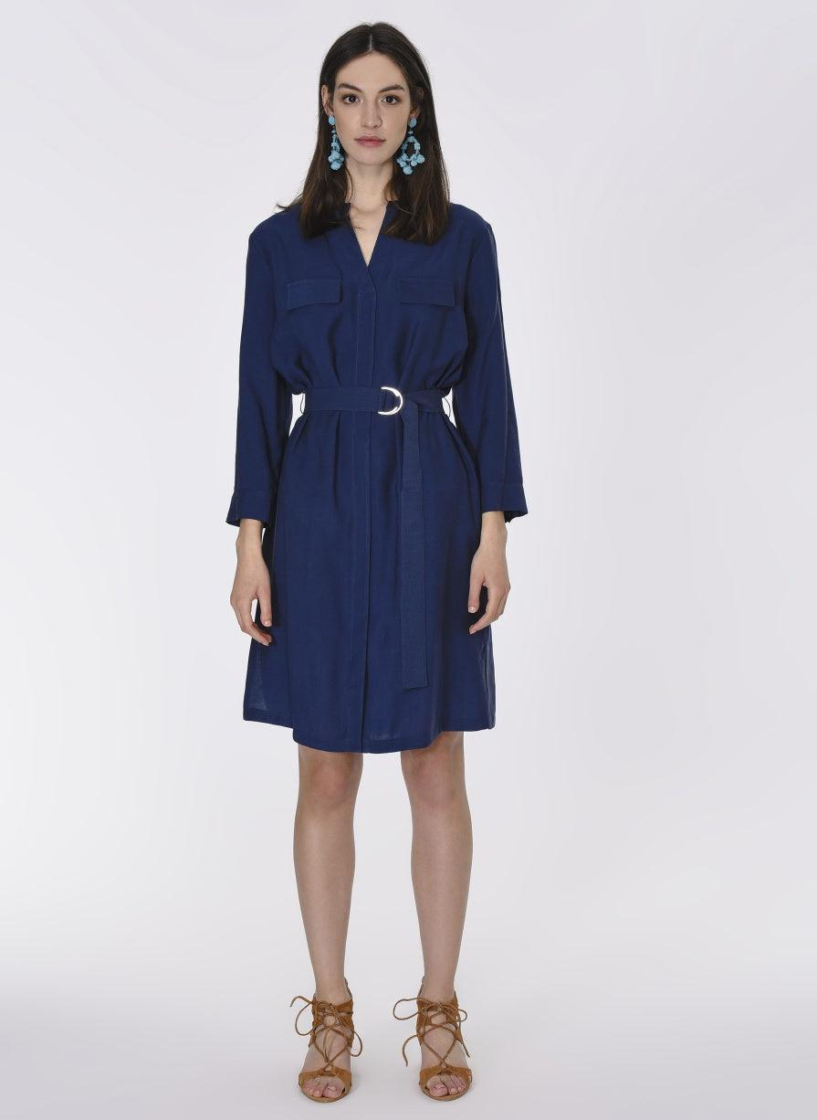 ROMAN USA-Belted Navy Shirt Dress-- [NAVY] - [BLUE]
