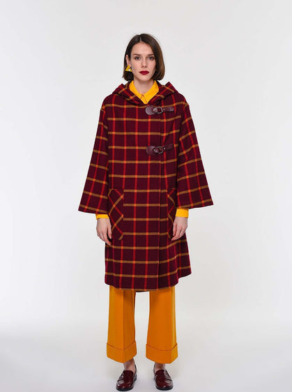 Burgundy Dupplin Checked Coat