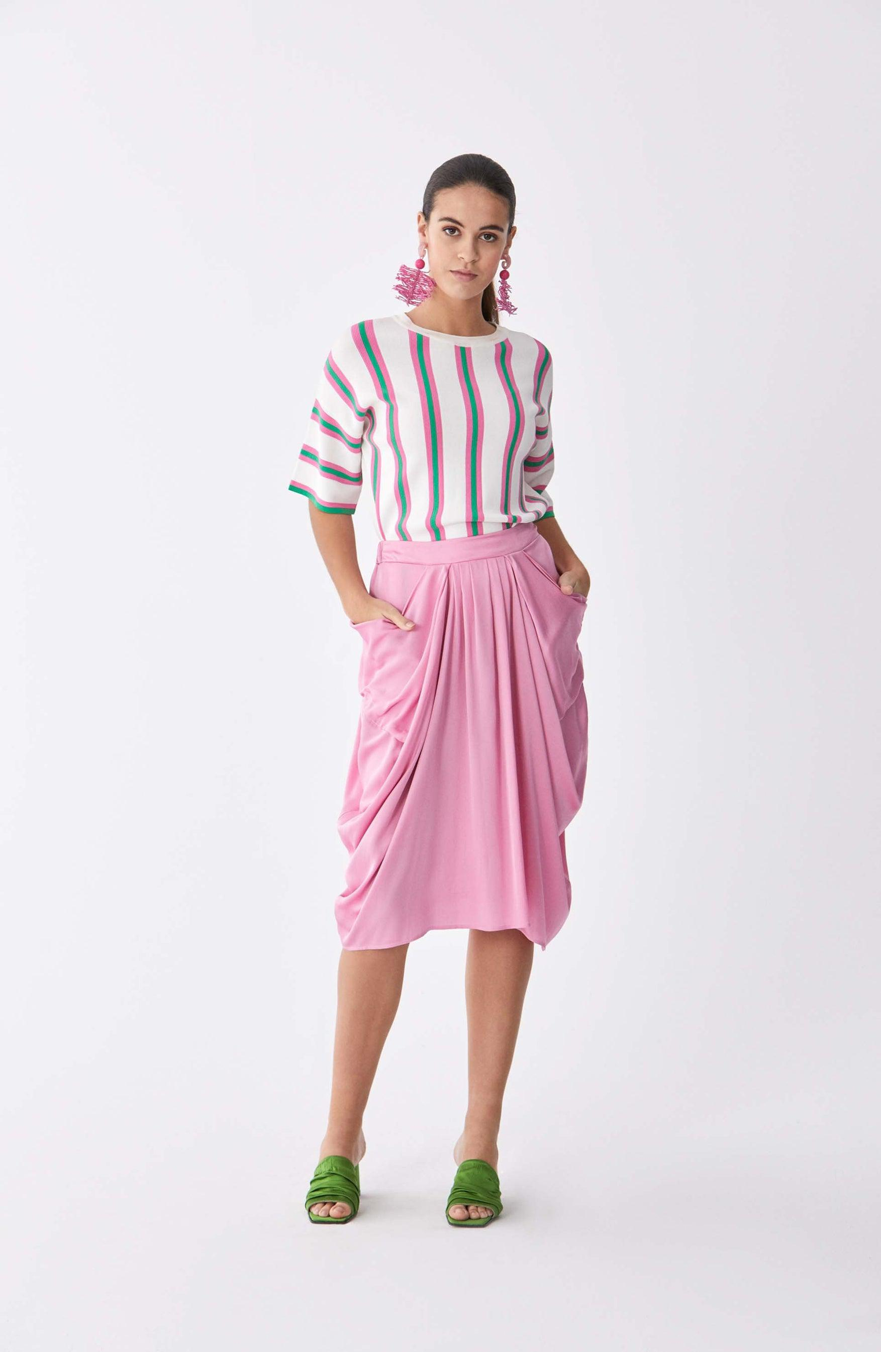 ROMAN USA-Greco Draped Tea Skirt-- [PINK]