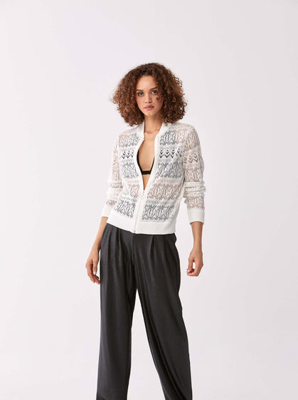 ROMAN USA-Rib Trim Lace Cutout Zip Up-- [WHITE]