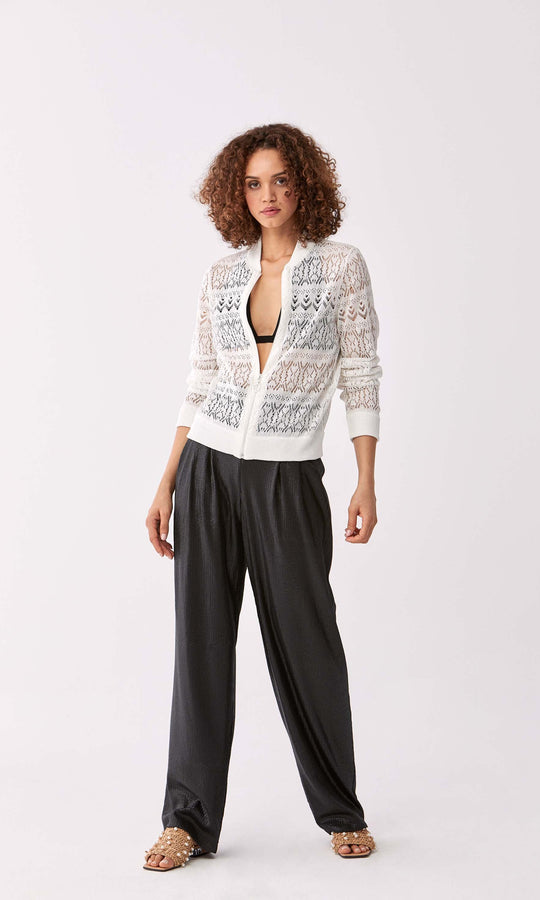 Rib Trim Lace Cutout Zip Up
