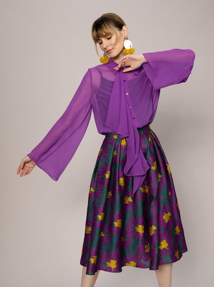ROMAN USA-Sheer Violet Flare Blouse-- [PURPLE]