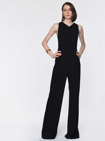 ROMAN USA-Sleeveless Wide Leg Jumpsuit-- [BLUE]
