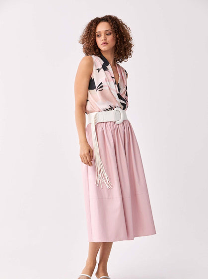 ROMAN USA-Structured Faux Leather Pleated Skirt-- [PINK]