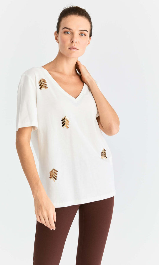 Mini Chevron Embellished T-Shirt