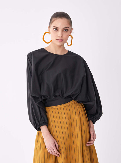ROMAN USA- [BLACK] Cotton Oversized Blouse-- [BLACK]