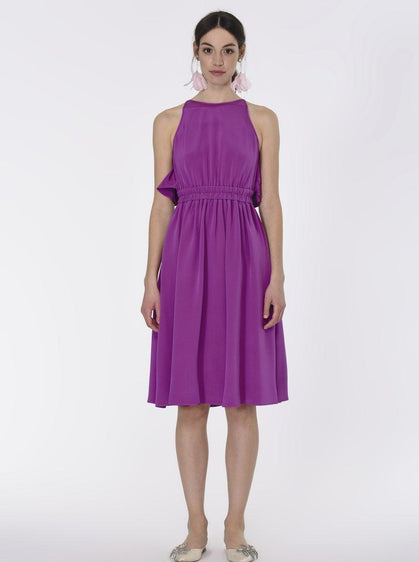 ROMAN USA-Strappy Silk Cocktail Dress-- [PURPLE]
