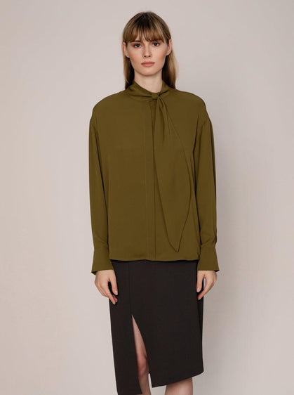 ROMAN USA-MOCKNECK RIBBON DETAIL BLOUSE-- [OFF - WHITE]