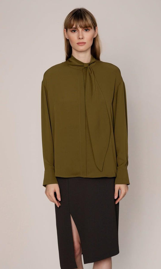 MOCKNECK RIBBON DETAIL BLOUSE