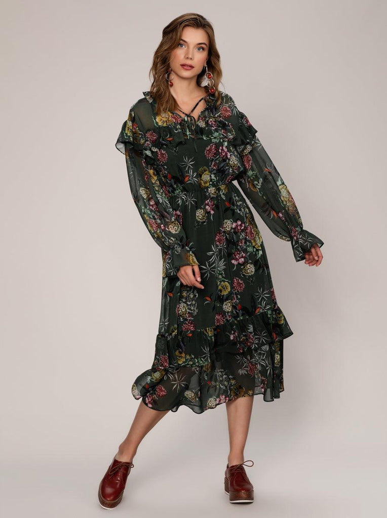 NECKLINE DETAILED FLORAL MIDI DRESS