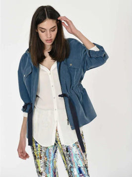 Drawstring Waist Cotton Lined Jacket