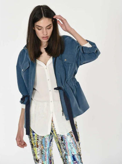 ROMAN USA-Drawstring Waist Cotton Lined Jacket-- [PETROL]