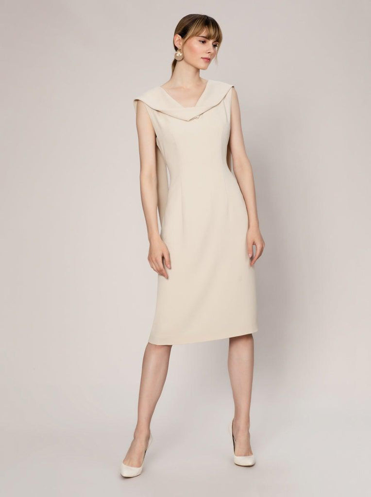 NECKLINE DETAILED SHEATH DRESS