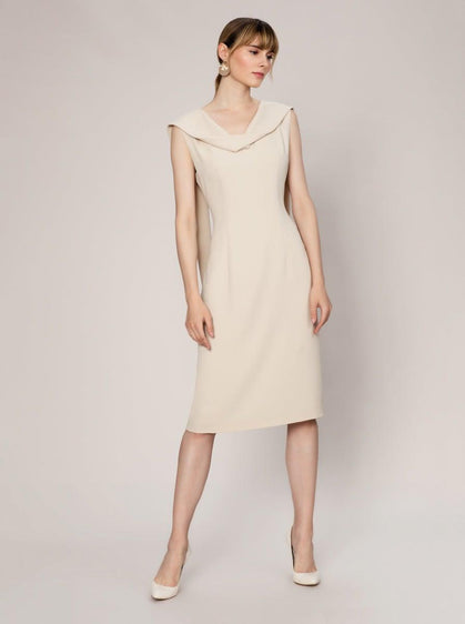 ROMAN USA-Cowl Neck Sheath Dress-- [BEIGE]