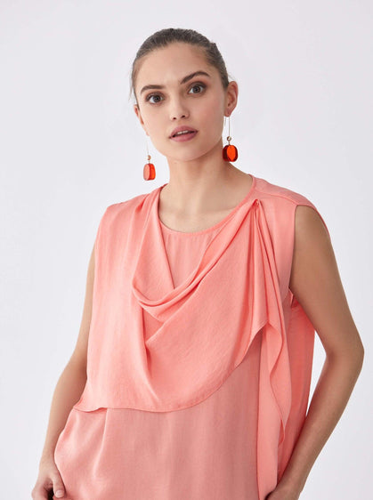 ROMAN USA-Sleeveless Draped Panel Blouse-- [PINK]