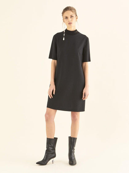 ROMAN USA- [TAN] Trim Mockneck Shift Dress-- [BLACK]