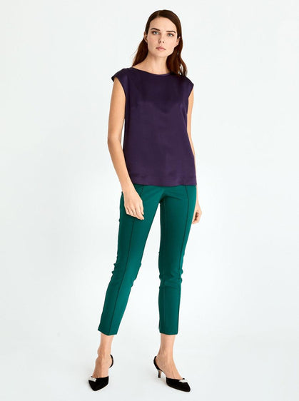 ROMAN USA-Silk Cap Sleeve Blouse-- [GREEN]