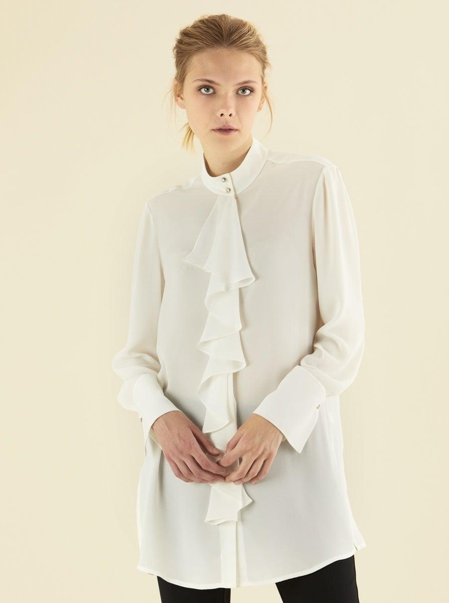 ROMAN USA-Mockneck Ruffle Tunic-- [OFF - WHITE]