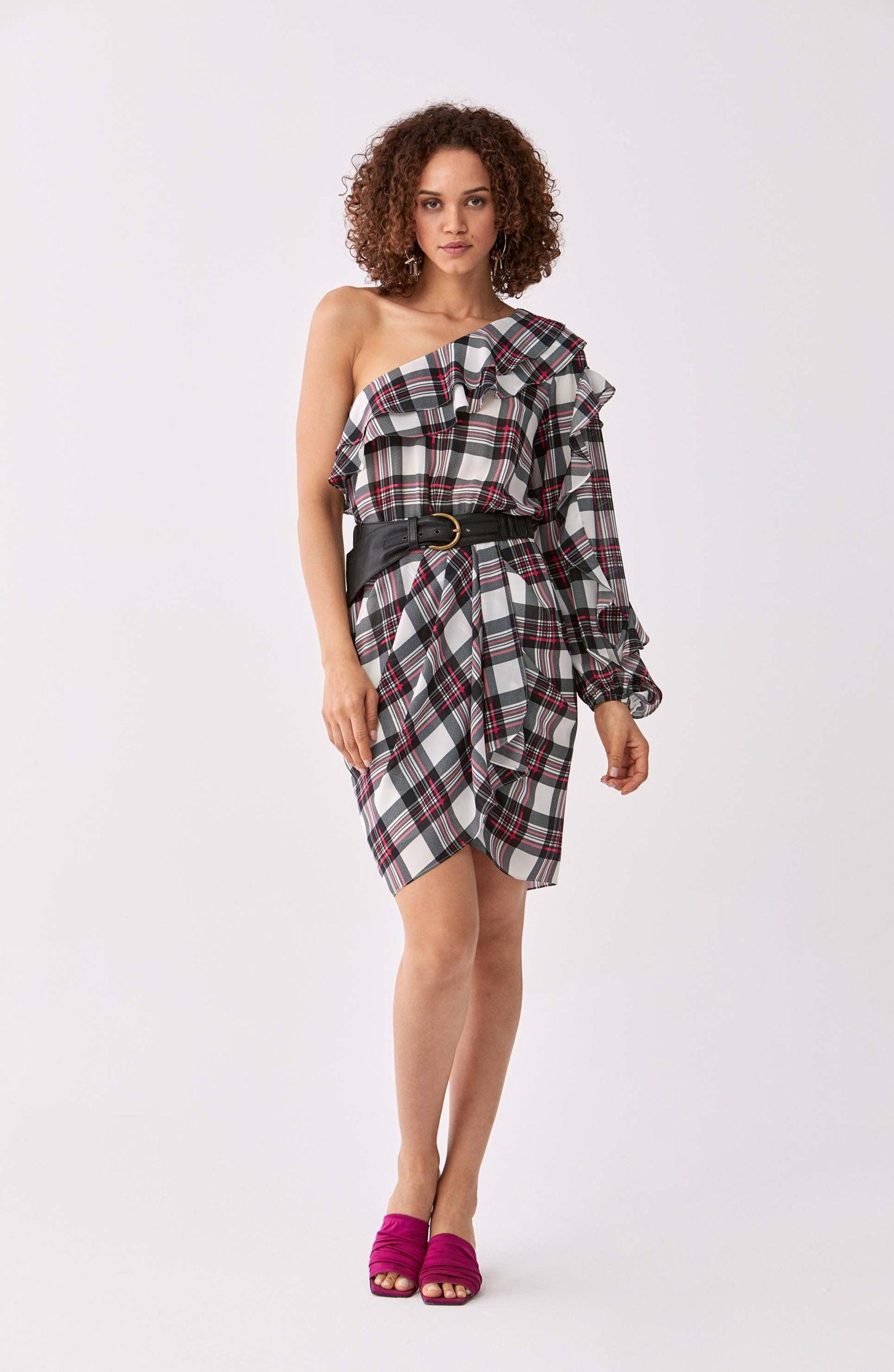 ROMAN USA-Navy & Red Tartan Cocktail Dress-- [ORIGINAL]