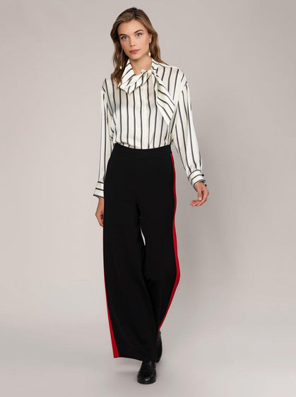 ROMAN USA- [BLACK] Wide Leg Knit Pant-- [BLACK]