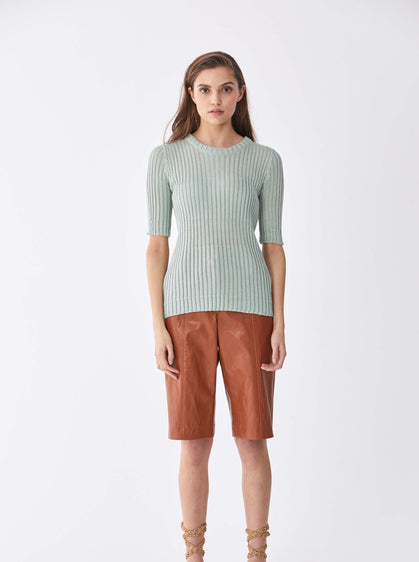 ROMAN USA-Ribbed 1/2 Sleeve Sweater-- [GREEN]