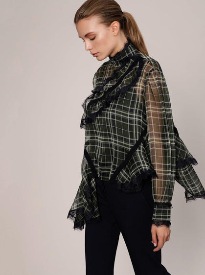 PLAID PATTERN DETAILED BLOUSE