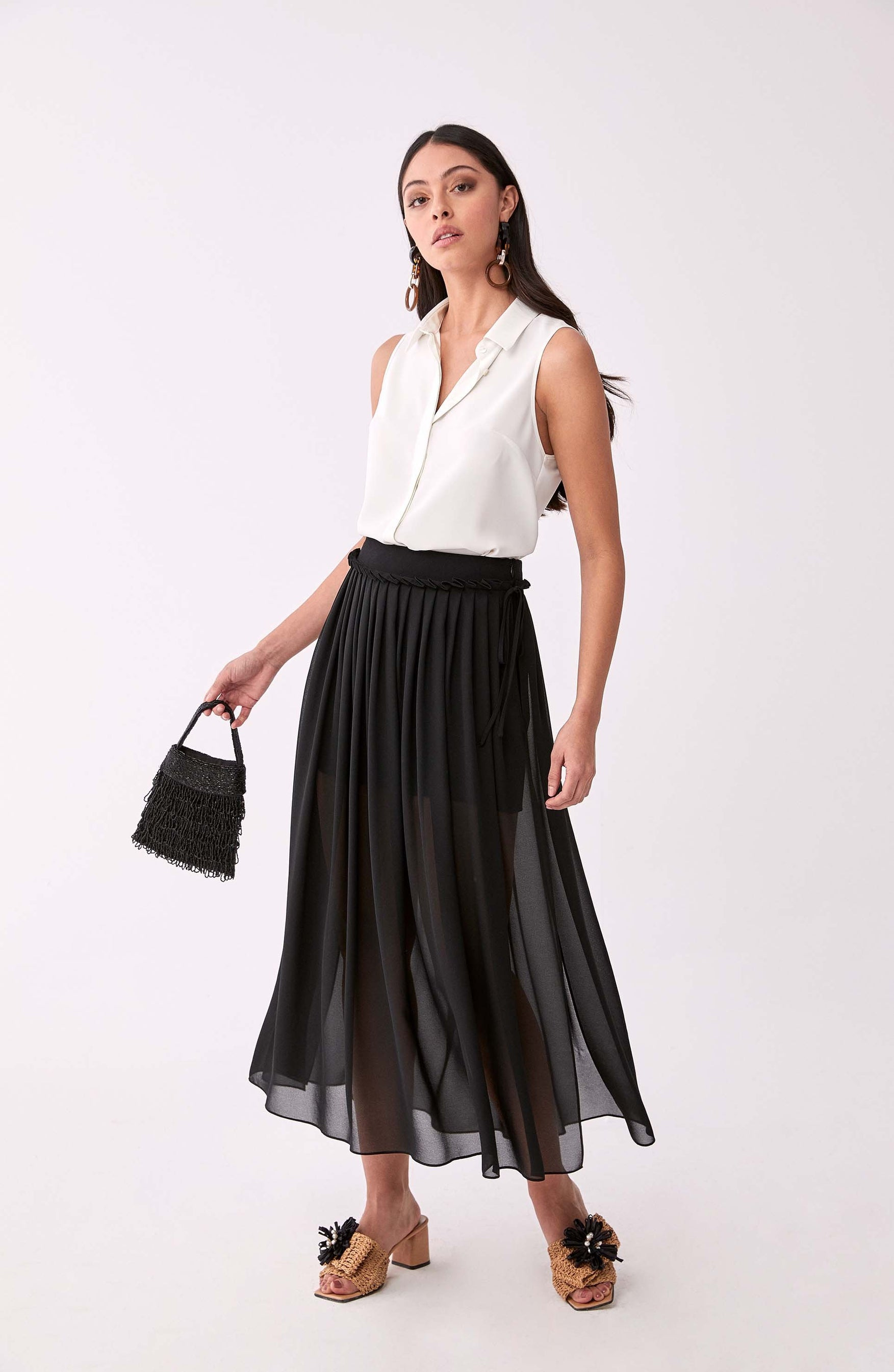 ROMAN USA-Accordion Trim Panel Skirt-- [BLACK]