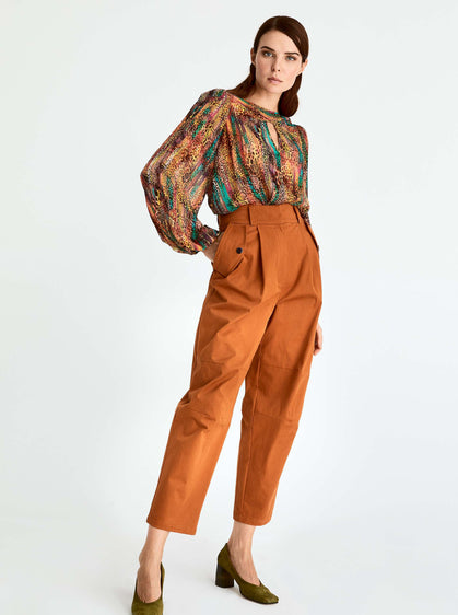 ROMAN USA-High Waisted Cropped Trouser-- [BRICK]