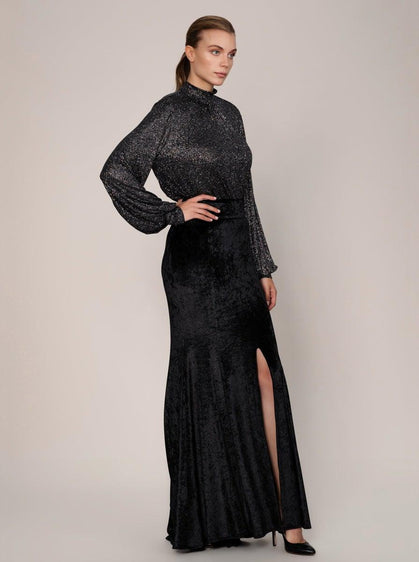 LONG SLIT BLACK VELVET SKIRT