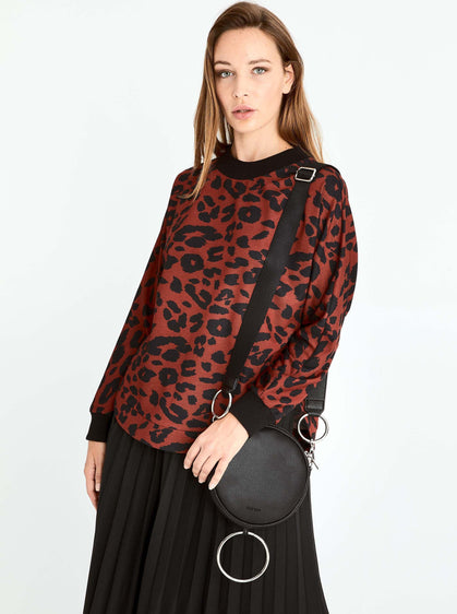 Leopard Print Ribbed Trim Sweater