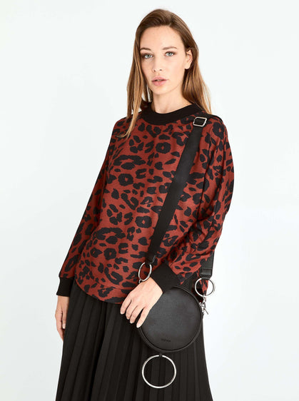 ROMAN USA-Leopard Print Ribbed Trim Sweater-- [ORIGINAL]